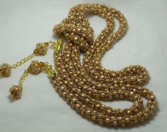 """Lariat """"honey"""" of  beads in the technique of """"Turkish tourniquet"""""""