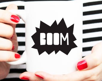 boom exclusive mug, the little boom, boom homewares, boom cup, boom mug, black and white, statement mug, coffee cup