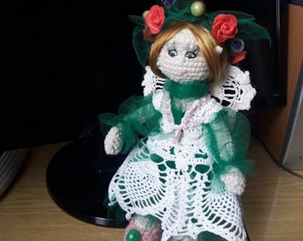 Crochet Doll Elf Cute Amigurumi Doll Fantasy Doll  Art Doll for gift Doll with movable hands and feet Doll with a wreath