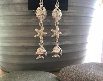 Sterling Silver Sea Life Earrings // sand dollar earrings // starfish earrings // fish earrings // sterling silver starfish earrings