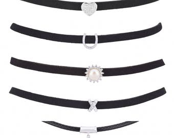 Leather & Suede Chokers With Charms