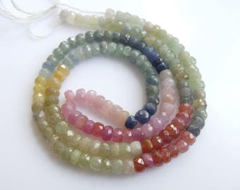 Multi Sapphire Roundel Beads, Size- 4x4 MM, Natural Multi Sapphire Beads, AAA Quality, Faceted,Bead, Natural Gemstone, 16 INCH