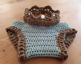 CROCHET BABY nappy cover and crown