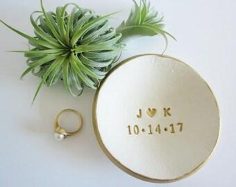 FREE GIFT, Porcelain Ring dish, wedding ring holder, white and gold Ring dish, ring holder ceramic, engagement gift,