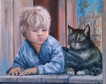 Friend Cat Oil painting on canvas palette knife wall art