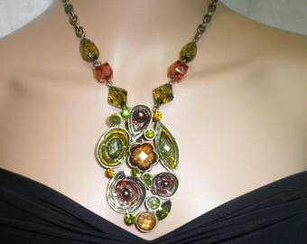 Necklace beads and unusual pendant