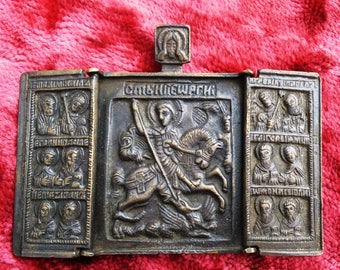 Old Russian Orthodox Brass Triptych depicting the St George Victorious