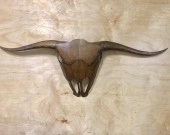 Ol Bull, Steel longhorn sculpture, steer skull sculpture,