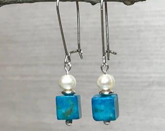 Pearl Jasper Earrings, blue white earrings, cube earrings, minimalist jewelry, blue minimalist earrings, blue minimalist jewelry, blue cubes
