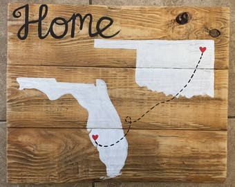 Fl States/home rustic Pallet wood sign, 18in x 12in