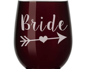 BRIDE Tribe Wedding Bachelorette Party Wine Glass Stemless or Stemmed