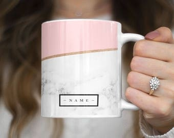 Personalised Custom Initial Name Pink Marble Create Your Own Customized Heat Resistant White Ceramic 11 oz Coffee Tea Mug | C259