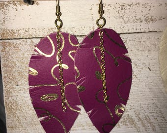Raspberry & Gold Leather Feather Earrings