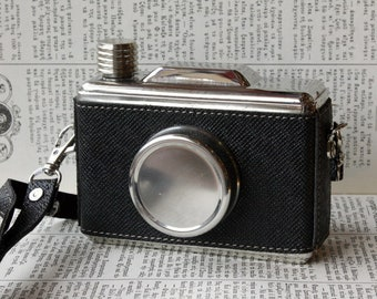 Camera Hip Flask with Leatherette Strap, Drinking Flask, Stainless Steel 11 oz, Liquor Alcohol Whiskey Flask, For Him, For Her, Photography