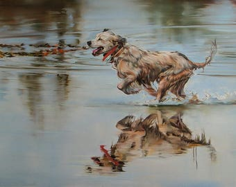 running on the river, dog painting