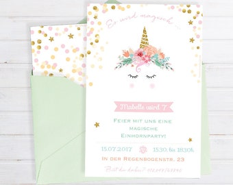 Invitation card for the children's birthday * with unicorn motif in pastel * for printing * personalizable & Individual