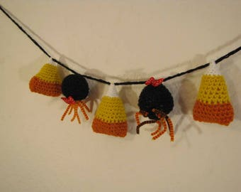 Candy Corn and Spiders Halloween Cute Crochet Banner