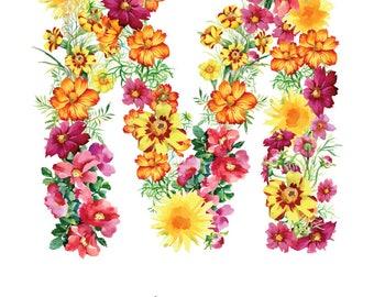 Letter M Print - Mia Nursery Art - 11x14in