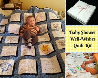 Baby Shower Quilt | Memory Quilt | Made from your guests' quotes and drawings!