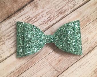 Mint Green, Mint Bow, Glitter Bow