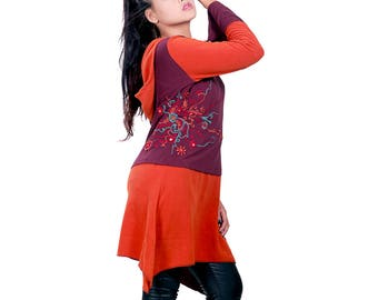 Color blocked polar fleece dress with hoodie and embroidery.