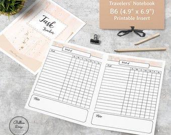 Task Tracker Printable Inserts B6, Tracker Planner, Weekly Planner Printable, Weekly TN Insert, B6 Printable Inserts Weekly, Foxy Fix No 5