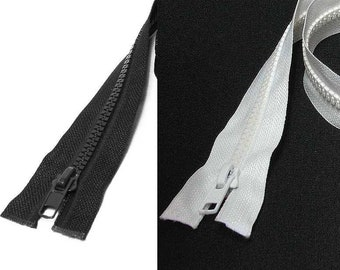 Black or White 10 Inch to 60 Inch Heavy Duty Size 5 Zipper Separating Each Open End Ended Closure Color ya5 Wholesale Zippers Bulk