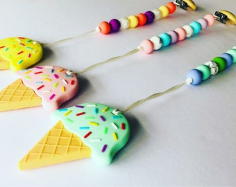 Ice Cream Teether Clip / Teether/ Baby Chewable / Teething