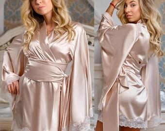 Beige Robe, Beige Gown, Kimono Robe Silk, Feminine Romantic Clothing, Kimono Robe, Luxury Robe, Silk Satin Robe, Kimono Robe Lace