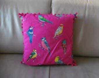 "Bommelkissen ""Birds Pink"""