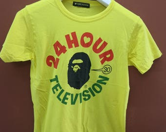 Vintage 24 Hour Television T-Shirt Street Japanese Bape General Top Tee Size S