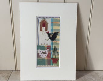 Chicken Hen Handmade Vintage Viyella Textile Picture