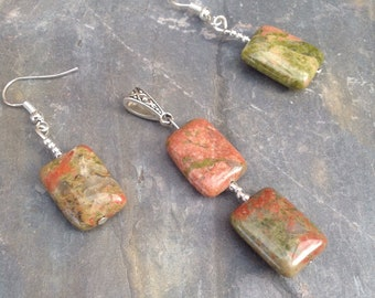 Unakite gemstone oblong dangle earrings