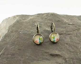 Earrings Bronze Bird Vintage pattern
