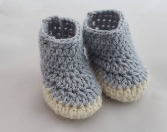 Light Blue & White Newborn Booties - 100% Wool