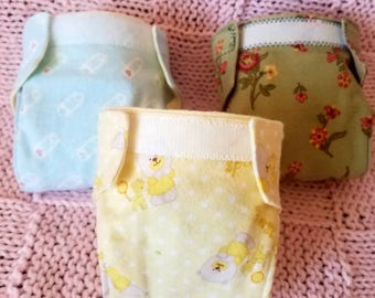 Set of 3 Reusable Doll diapers with water resistant liner Flannel Doll diapers. Pretend play. Padded doll diapers. Ready to ship.