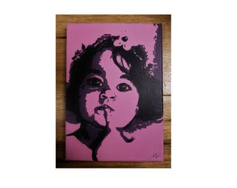 Portraits adults/children/pets way Pop art on canvas, made by hand. To purchase a set of 4 paintings, the 4th is free