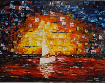 Canvas painting, Sunset painting, abstract art, oil painting, boat painting, thick oil layers