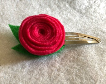 Girly Magenta Rose Hair Clip