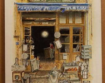 TRADITIONAL GREEK STORES, Tin Shop (Aquarelle), 50x70cm, 2015
