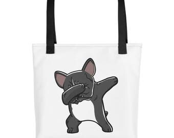 Funny Dabbing French Bulldog Tote bag, Cute Frenchie Dog bag