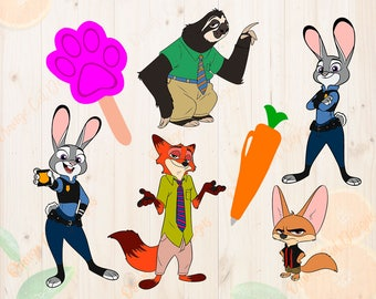 Zootopia Svg, Bundle Zootopia cut files, Eps & Png, Judy hoops for Cricut, Silhouette, pawpsicle svg, carrot pen, zootopia characters svg