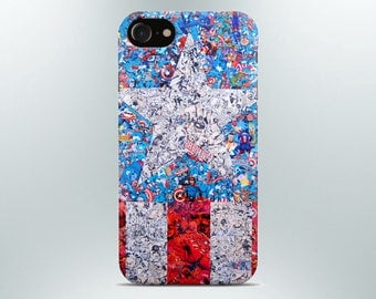Captain america phone case iPhone case 7 X plus 8 6 6s 5 5s se 4 Samsung galaxy  s8 s7 edge s6 s5 s4 note gift art poster shield marvel pin