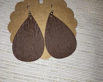 Faux Wood Leather Earrings