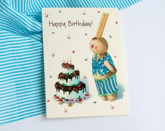 Greeting Card|Watercolor Card|Illustrated Postcard|Card With a Cake|Card With a Hare|Happy Birthday|Hare With a Cake|Bunny Watercolor|Hare