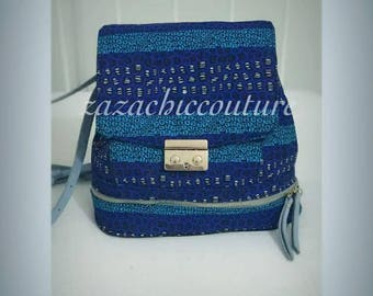 Blue African Prints backpack
