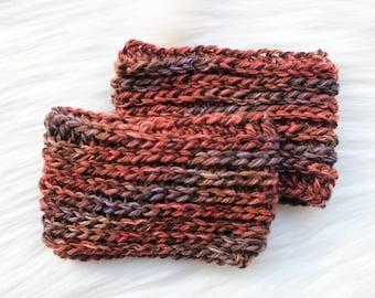 Bronze Ribbed Boot Cuffs - boot topper, leg warmers, under boot socks, winter, soft, crochet, copper, wool