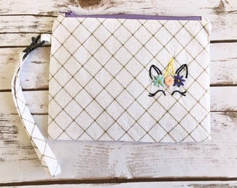 Unicorn Zipper Pouch / Embroidered / Makeup Bag