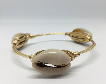 Large Seashell Bangle Bracelet