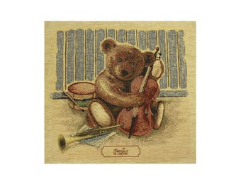 Tapestry Cushion Cover / Bear and Violin Pillow Cover / Tapestry Pillow / Gobelin Cushion Cover / Decorative Pillow / Vintage Tapestry